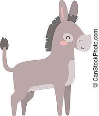 Cartoon donkey animal vector.