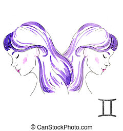 Watercolor Gemini girl - Beautiful image with nice...