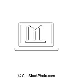 Laptop with business graph icon, thin line style