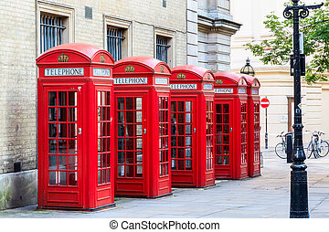 Red Telephone Booths - The iconic red telephone booths on...