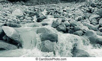 Mounain river flows on big rocks 4K video, close up version