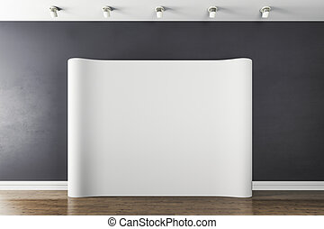 3d interior with  blank white poster
