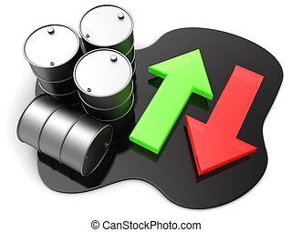 oil price - 3d illustration of oil barrels and arrows, oil...