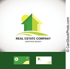 Real estate green house home logo