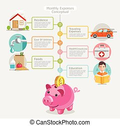 Monthly expenses conceptual flat style. Vector illustration....