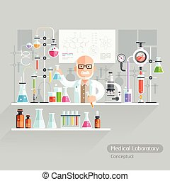 Professor Working on Medical Laboratory. Vector...