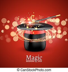 Magic Hat with Magic wand. Vector Magician perfomance. Wizzard show background