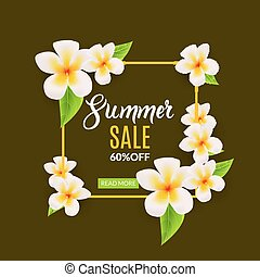 Summer Sale promotional poster with flowers. Summer discount...