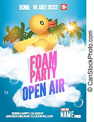 Foam Party summer Open Air Beach party foam party poster or...