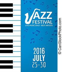Jazz festival poster with a saxophone. Musical flyer design template