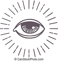 Eye sun vector symbol. - All seeing eye symbol on light...