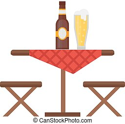 Camping table and chair vector set. Summer picnic leisure...