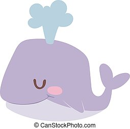 Cartoon whale vector illustration. - Happy cartoon whale and...