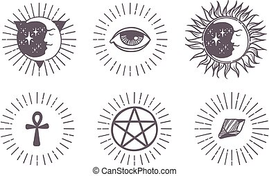 Esoteric symbols vector illustration - Set of trendy vector...