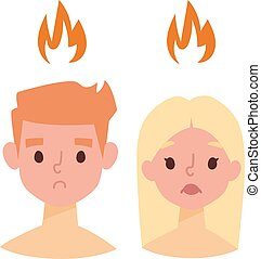 Sunburn vector illustration - Sunburn on boy and girl face...