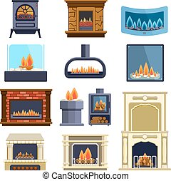 Set of vector fireplace icons. - Set of vector fireplace...