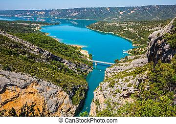 The river in canyon of Verdon - Canyon of Verdon, Provence,...