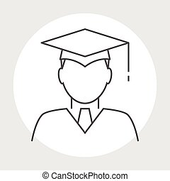 Graduate avatar line icon Head of the student learner