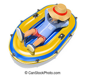 3D Man in shorts sleeping on an inflatable boat - 3d young...