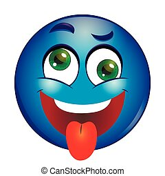 Crazy blue Smiley showing tongue
