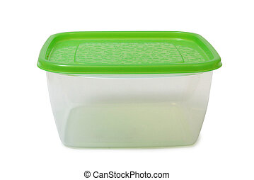 Food container - Plastic food containers on a white...