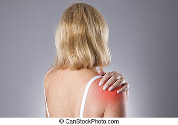Woman with pain in shoulder Pain in the human body