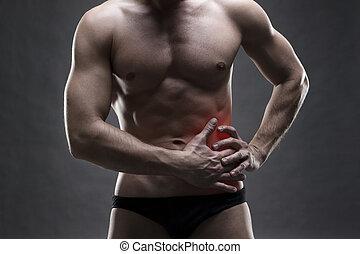 lado, cinzento, dor, corporal, Muscular, bodybuilder, posar,...