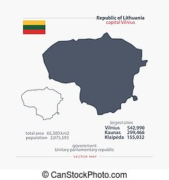 lithuania - Republic of Lithuania isolated maps and official...