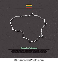 lithuania outline - Republic of Lithuania isolated map and...