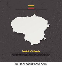 lithuania shadow - Republic of Lithuania isolated map and...
