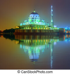 Sunset over Putrajaya Mosque, Kuala Lumpur - Sunset over...