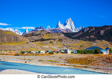 The drying-up river in the valley - Amazing Patagonia in...