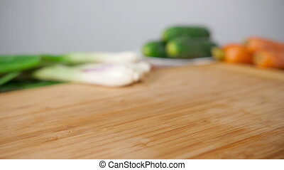 Falling Fresh Fennel On Wooden Cutting Board - Falling dill...