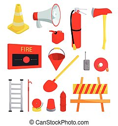 Firefighter icons set, cartoon style - Firefighter icons set...