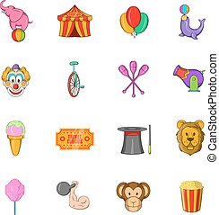 Circus Icons set, cartoon style - Circus Icons set in...
