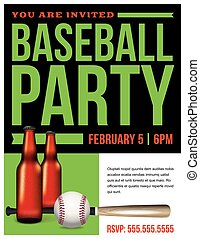 Baseball Party Flyer Template Illustration - A baseball...