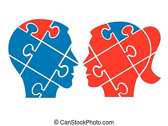 Man woman understanding concept - Two Puzzle heads...