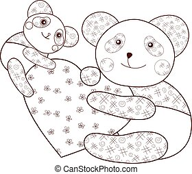 Panda with heart kid coloring book page. Brown outline.