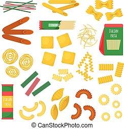 pasta, prodotti, vettore, illustration.,