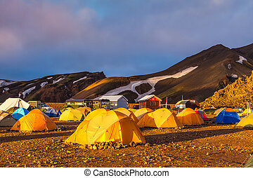Magic Dawn Landmannalaugar, Iceland - Tents tourists,...