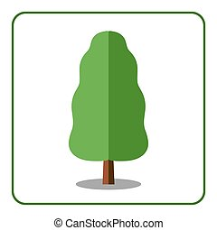 Oak poplar tree icon - Oak or poplar tree icon. Flat design...