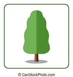 Oak poplar tree icon - Oak or poplar tree icon. Flat design...
