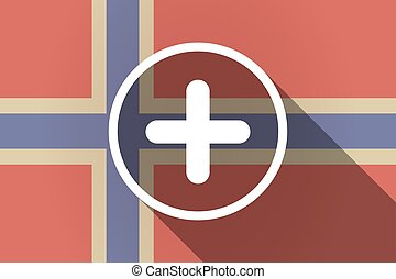 Long shadow Norway flag with a sum sign - Illustration of a...