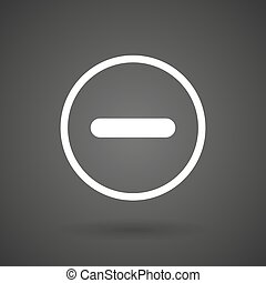 a subtraction sign white icon on a dark background - a...