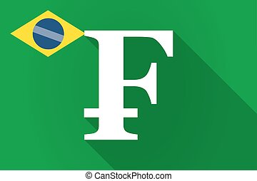 Long shadow Brazil flag with a swiss franc sign -...