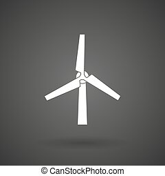 a wind turbine    white icon on a dark  background