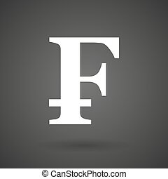 a swiss franc sign white icon on a dark background - a swiss...