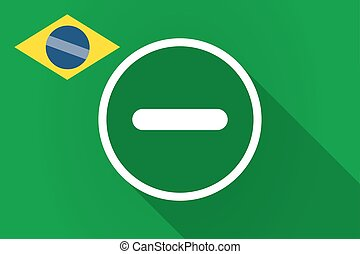 Long shadow Brazil flag with a subtraction sign -...