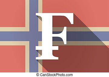 Long shadow Norway flag with a swiss franc sign -...