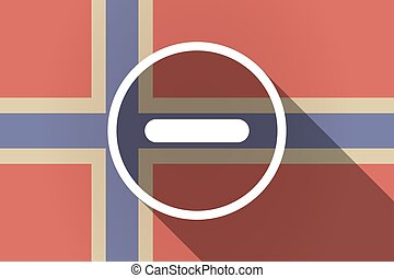 Long shadow Norway flag with a subtraction sign -...